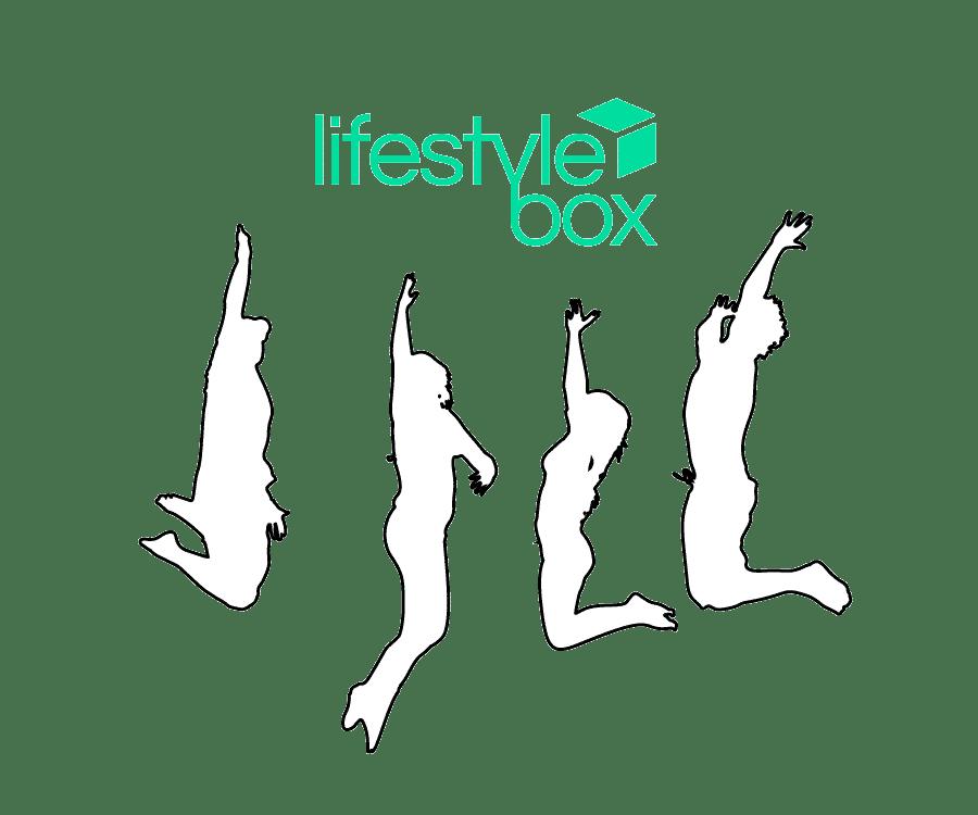 Eine Illustration von springenden glücklichen Personen die das Lifestylebox Logo bewundern.