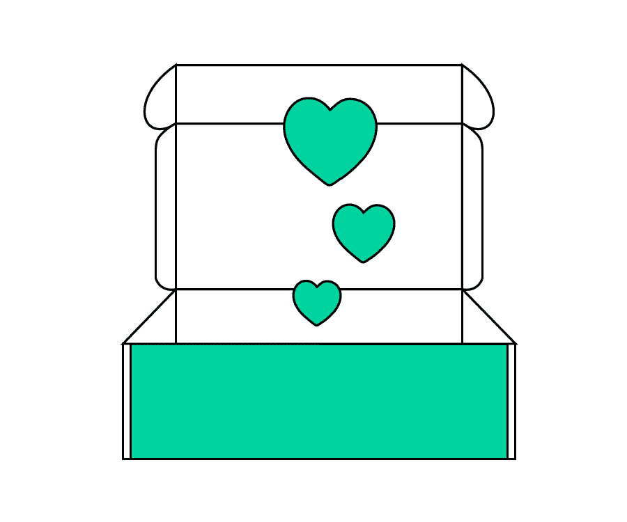 Eine Illustration von einer Lifestylebox mit Herzen die aus ihr herausfliegen.