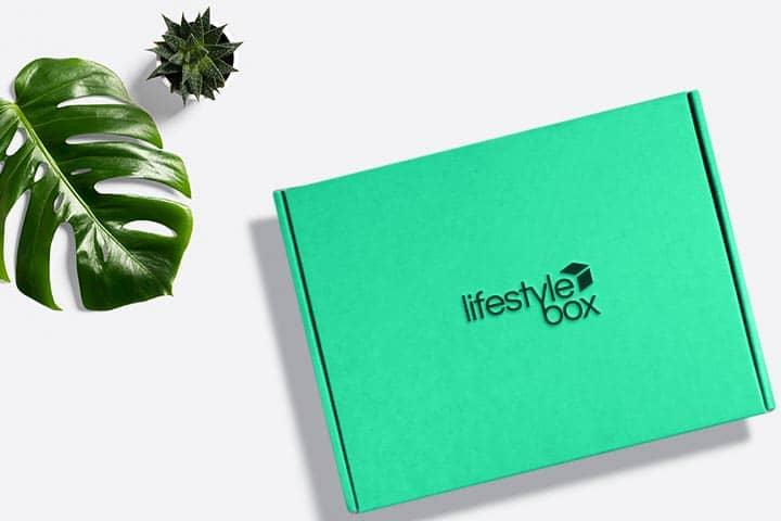 Eine Lifestylebox, ein grünes Blatt und eine Zimmerpflanze liegen auf einer weißen Oberfläche.