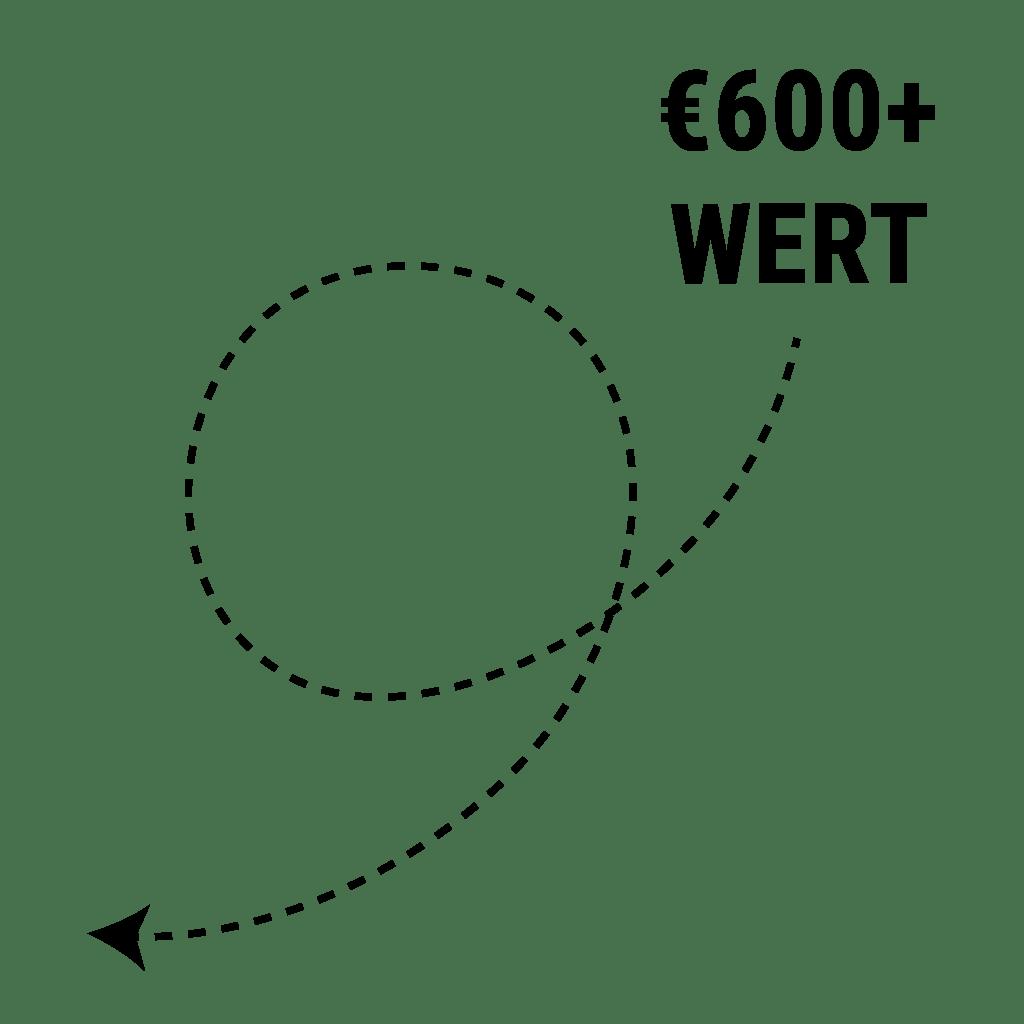 Eine Illustration einer strichlierten Linie die darauf hinweißt, dass der Wert bei über 600 Euro liegt.